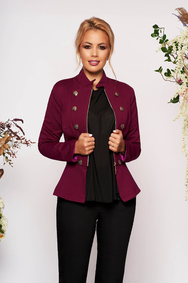 Jacket raspberry office with inside lining with button accessories elegant with padded shoulders