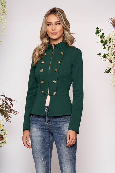 Jacket green office with inside lining with button accessories elegant with padded shoulders