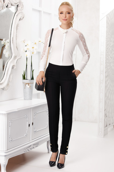 Black trousers elegant long conical with pockets with button accessories cloth thin fabric