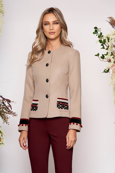 Cappuccino elegant wool jacket arched cut with inside lining handmade applications