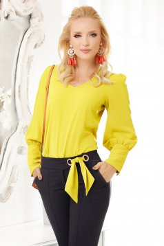 Lightgreen women`s blouse elegant flared with v-neckline from veil fabric thick fabric long sleeved