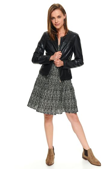 Black jacket casual short cut from ecological leather arched cut