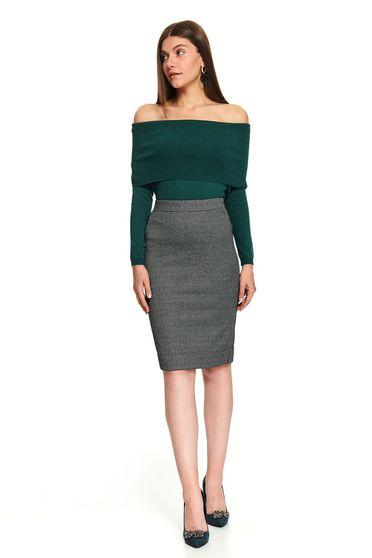 Black dogtooth office midi pencil skirt with back slit