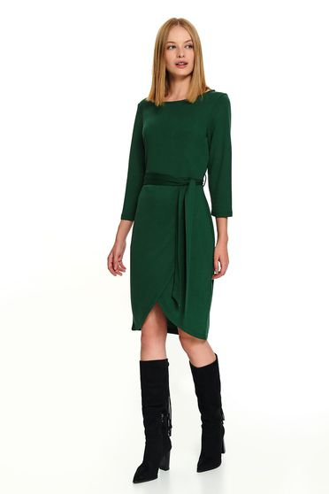 Green dress casual short cut wrap around accessorized with tied waistband long sleeved