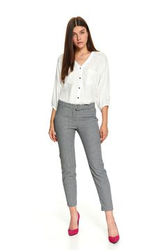 White women`s blouse office short cut flared with front pockets with 3/4 sleeves