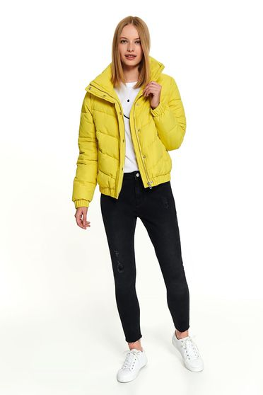 Yellow jacket casual short cut high collar with pockets long sleeve