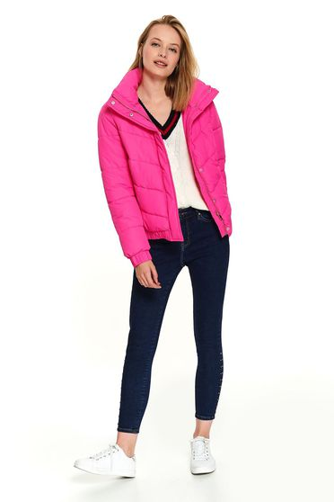 Pink jacket casual short cut with pockets high collar long sleeve