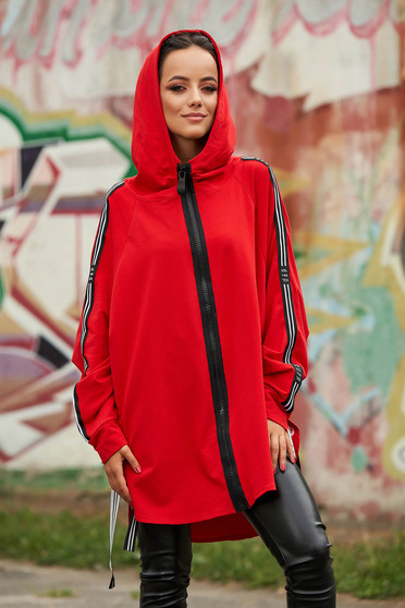 Red coat casual cotton with undetachable hood zipper fastening