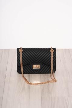 Black bag elegant long chain handle long, adjustable handle