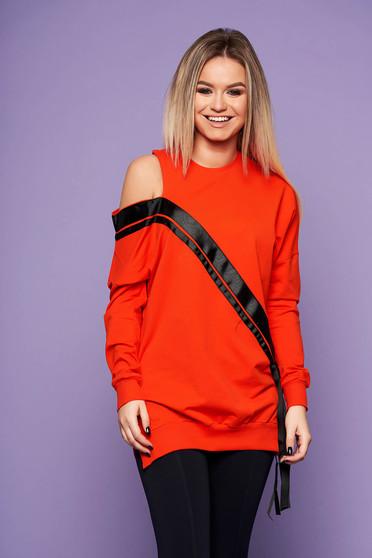Orange women`s blouse casual cotton long sleeve neckline one shoulder