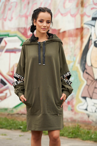 Khaki dress casual flared cotton short cut with undetachable hood with front pockets