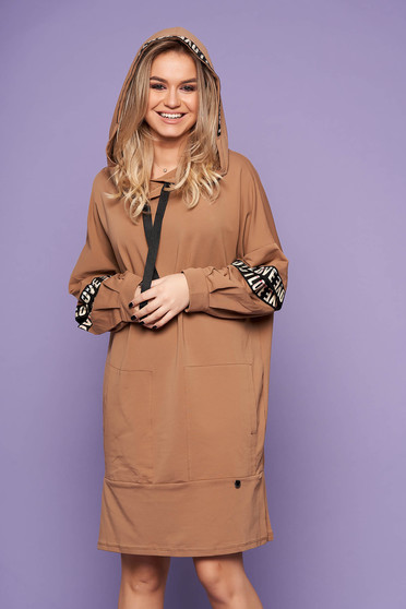 Cappuccino dress casual flared cotton short cut with undetachable hood with front pockets
