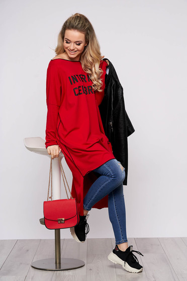 Red dress casual flared asymmetrical cotton one shoulder long sleeved