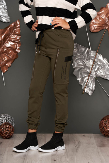 Khaki trousers casual long cotton high waisted with elastic waist lateral pockets