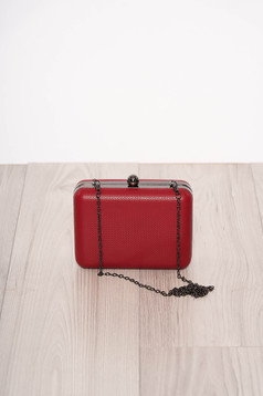 Red bag occasional detachable chain faux leather one eyelet fastening