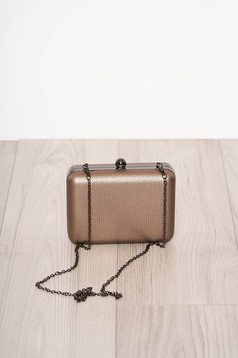 Gold bag occasional detachable chain faux leather one eyelet fastening