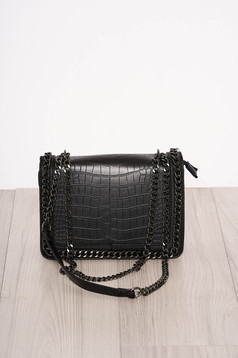 Black bag elegant from ecological leather snake print zipper accessory