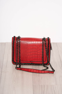Red bag elegant from ecological leather snake print zipper accessory