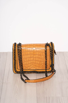 Mustard bag elegant from ecological leather snake print zipper accessory