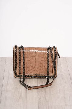 Brown bag elegant from ecological leather snake print zipper accessory