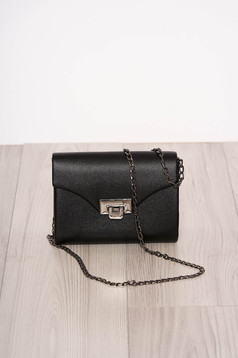 Black bag occasional faux leather long chain handle detachable chain