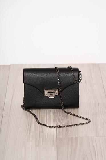 Black bag occasional faux leather long chain handle detachable chain