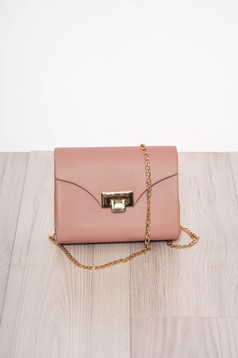 Lightpink bag occasional faux leather long chain handle detachable chain