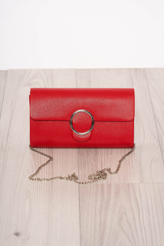 Red bag elegant long chain handle detachable chain