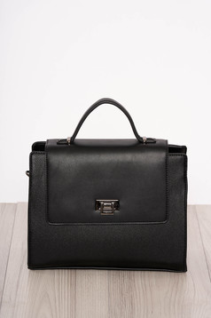 Bag black elegant faux leather short handles