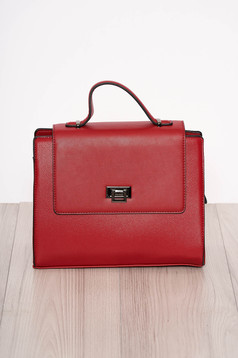 Red bag elegant faux leather short handle and long chain handle
