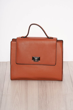 Brown bag elegant faux leather short handle and long chain handle