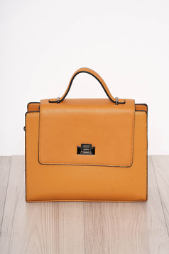 Bag yellow elegant faux leather short handles