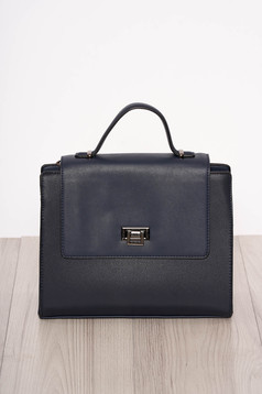 Bag darkblue elegant faux leather short handles