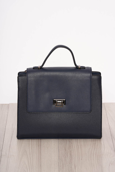 Darkblue bag elegant faux leather short handle and long chain handle