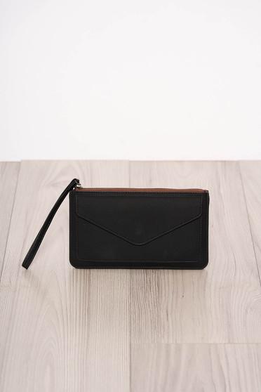 Black wallet faux leather zipper fastening one eyelet fastening