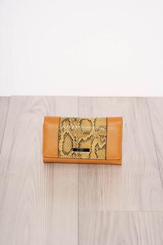 Mustard wallet snake print