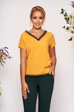 Mustard women`s blouse elegant flared short cut with v-neckline with lace details