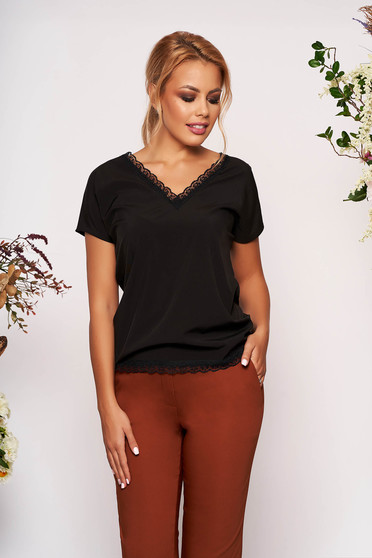 Black women`s blouse elegant flared short cut with v-neckline with lace details