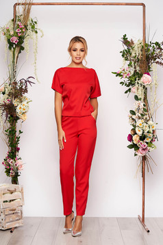 Red jumpsuit elegant occasional with elastic waist short sleeves long
