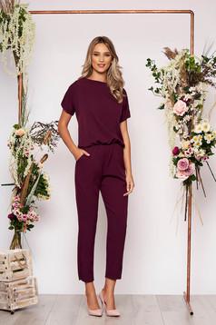 Purple jumpsuit elegant occasional with elastic waist short sleeves long