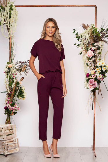 Purple jumpsuit elegant occasional with elastic waist short sleeves long