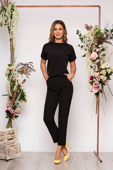 Black jumpsuit elegant occasional with elastic waist short sleeves long