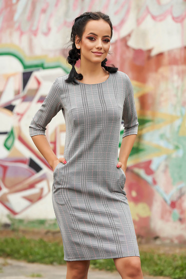 Lightpink dress daily a-line cloth thin fabric with chequers with pockets without clothing