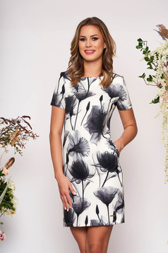 Ivory dress elegant short cut a-line with pockets short sleeves scuba with floral print