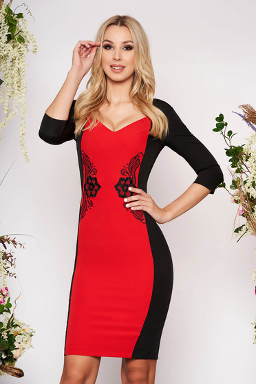 StarShinerS red dress elegant midi pencil cloth with 3/4 sleeves without clothing with deep cleavage back slit