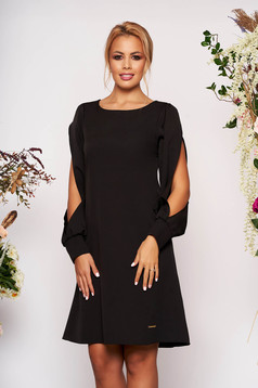 Black dress elegant short cut a-line neckline long sleeved with cut-out sleeves