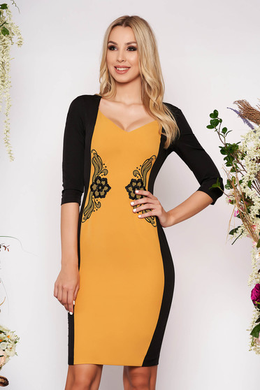 StarShinerS mustard dress elegant midi pencil cloth with 3/4 sleeves without clothing with deep cleavage back slit