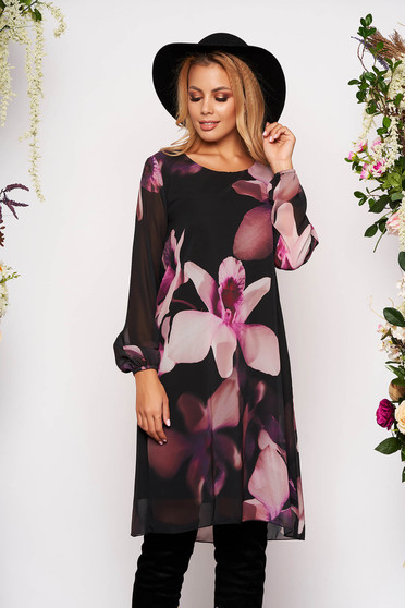 Purple dress elegant short cut from veil fabric with floral print with veil sleeves long sleeved with inside lining