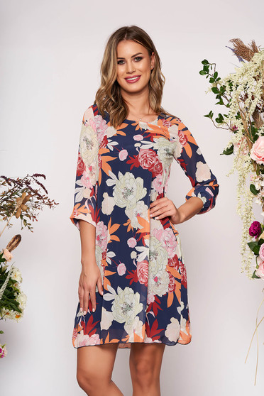 Darkblue dress short cut elegant a-line with floral print with 3/4 sleeves neckline