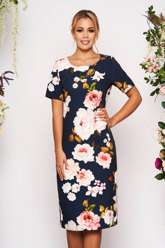 Darkblue dress short cut a-line short sleeves neckline with floral print